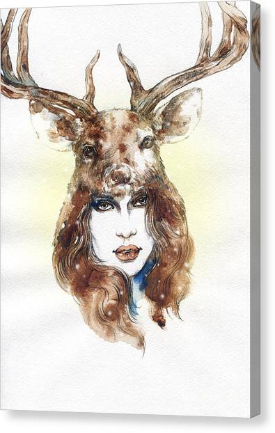 Fitness Canvas Print - Woman Wearing A Mask. Hand Painted by Anna Ismagilova