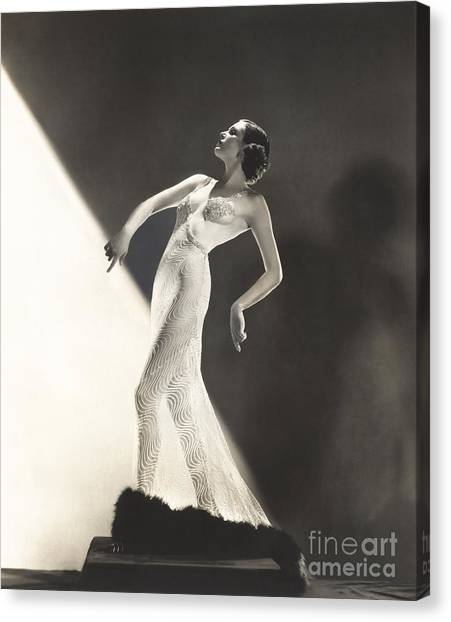 Indoors Canvas Print - Woman Wearing Sheer Evening Gown by Everett Collection
