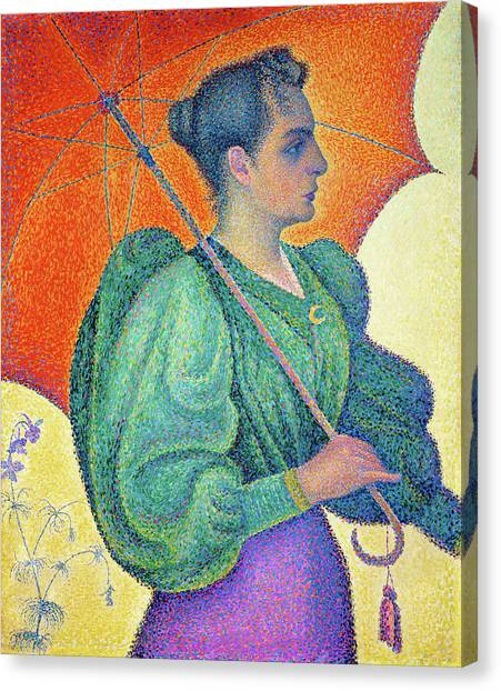 Signac Canvas Print - Woman With A Parasol - Digital Remastered Edition by Paul Signac