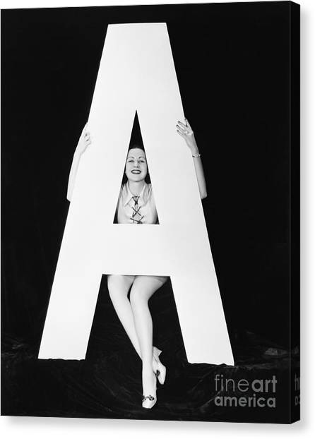 Woman With Huge Letter A Canvas Print by Everett Collection