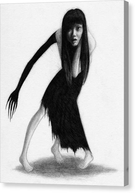 Woman With The Black Arm Of Demon Ghost - Artwork Canvas Print