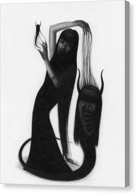 Woman With The Demon's Fingers - Artwork Canvas Print