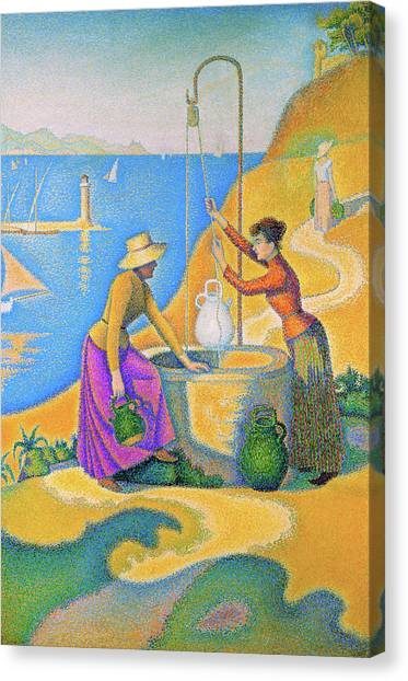 Signac Canvas Print - Women At The Well - Digital Remastered Edition by Paul Signac