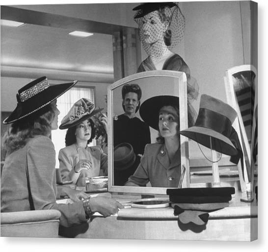 Women Looking At Hats At Nieman Marcus D Canvas Print