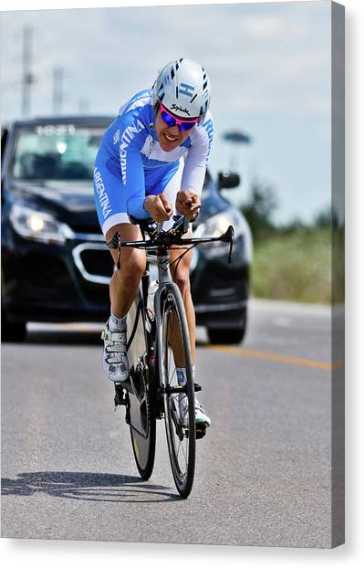 Canvas Print featuring the photograph Womens Individual Time Trial No 1 by Brian Carson