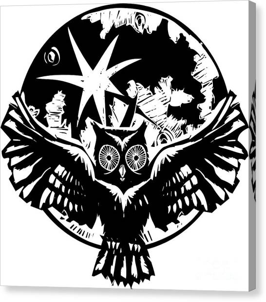 Hunt Canvas Print - Woodcut Flying Owl With Feathered Wings by Jef Thompson