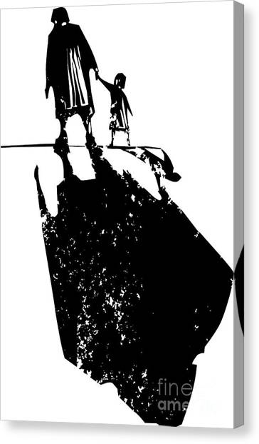 Shadow Canvas Print - Woodcut Style Expressionist Image Of An by Jef Thompson