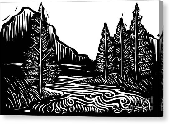 Nature Canvas Print - Woodcut Style Expressionist Landscape by Jef Thompson
