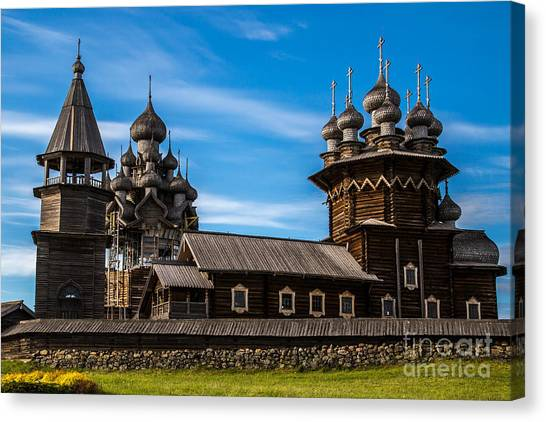 Orthodox Canvas Print - Wooden Architecture Nordic Countries by Timin