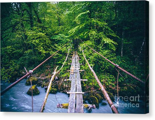 Trip Canvas Print - Wooden Bridge Old Over River Beautiful by Everst