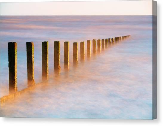 Wooden Groynes, Leysdown, Isle Of Canvas Print by John Miller Photographer