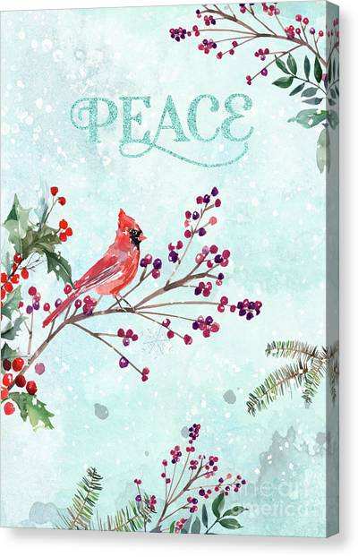 Woodland Holiday Peace Art Canvas Print