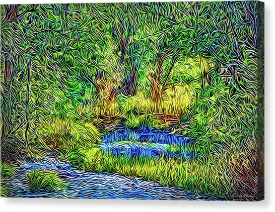 Canvas Print featuring the digital art Woodland Streaming Waters by Joel Bruce Wallach