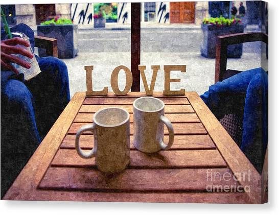 Word Love Next To Two Cups Of Coffee On A Table In A Cafeteria,  Canvas Print