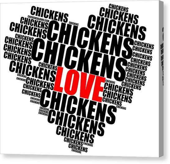 Wordcloud Love Chickens Black Canvas Print