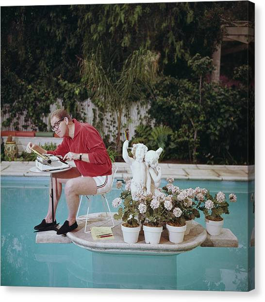Working On Water Canvas Print by Slim Aarons