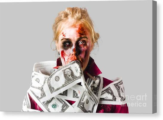Resurrected Canvas Print - Worried Zombie With Dollar Bills by Jorgo Photography - Wall Art Gallery