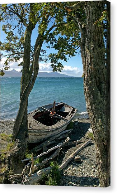 Wrecked Boat Patagonia Canvas Print