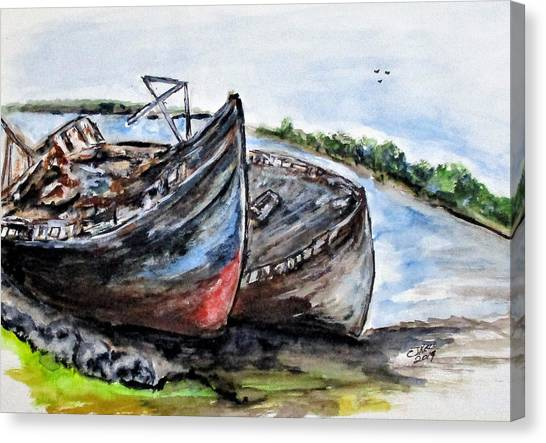 Wrecked River Boats Canvas Print