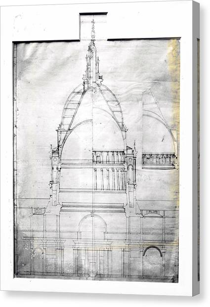 Wrens Plan Of St Pauls Canvas Print by Topical Press Agency