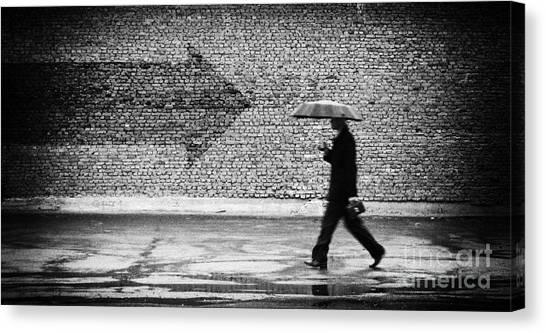 Urban Life Canvas Print - Wrong Way. A Man With Umbrella by Drop Of Light