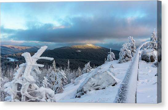 Canvas Print featuring the photograph Wurmbergblick, Harz by Andreas Levi