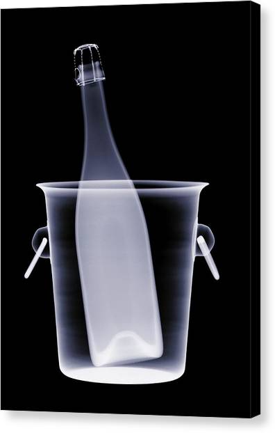 X-ray Of A Bottle Of Champagne In An Canvas Print