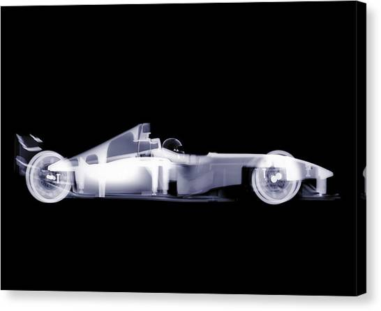 X-ray Of A Toy Formula One Race Car Canvas Print by Nick Veasey