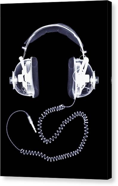 X-ray Of Headphones Canvas Print