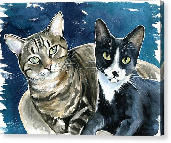 Xani And Zach Cat Painting Canvas Print