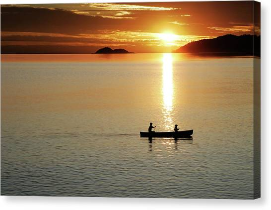 Xl Canoe Sunset Canvas Print