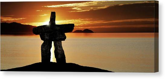Xl Inukshuk At Sunset Canvas Print by Sharply done