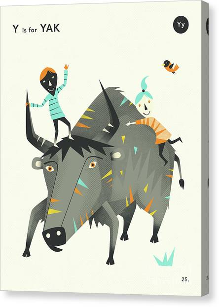 Yak Canvas Print - Y Is For Yak 2 by Jazzberry Blue