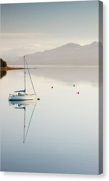 Yacht Moored On Banks Of Loch Ainort On Canvas Print