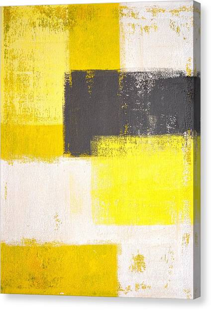 Grey Background Canvas Print - Yellow And Grey Abstract Art Painting by T30 Gallery