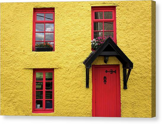 Cottage Style Canvas Print - Yellow  And Red House by Kelvinjay