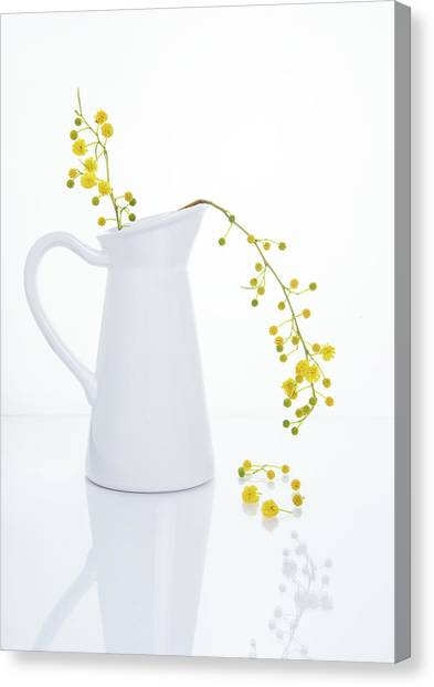 Yellow Beautiful Flowers On A White Vase. Canvas Print