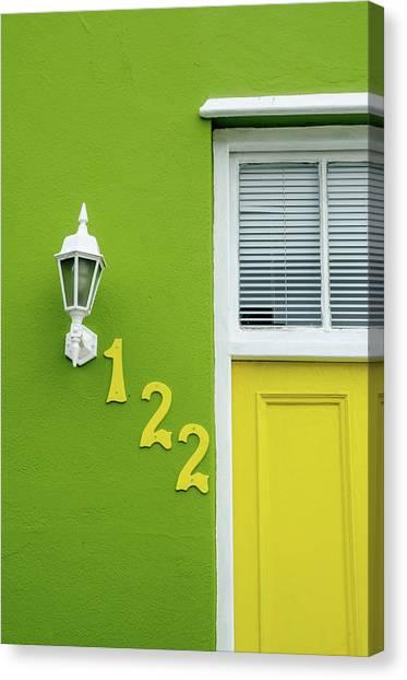 Yellow Door And Green Wall In Bo-kaap Canvas Print