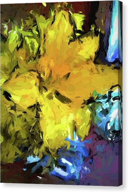 Yellow Flower And The Eggplant Floor Canvas Print