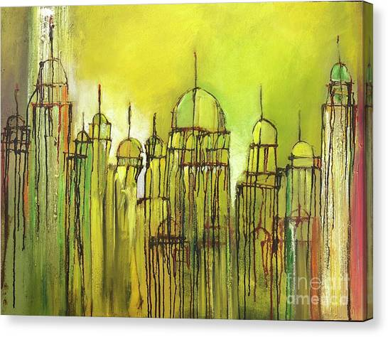Canvas Print featuring the painting Yellow Mosque  by Nizar MacNojia