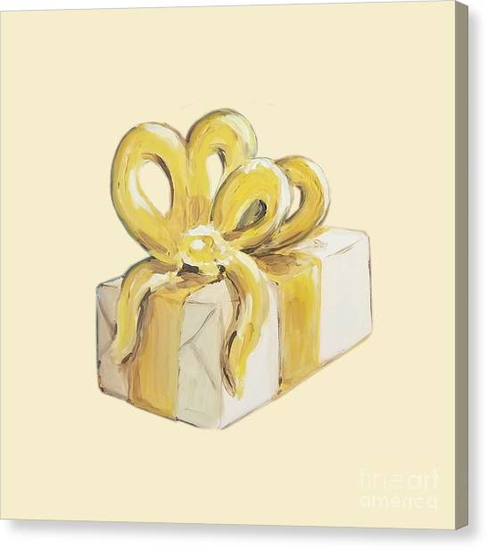 Canvas Print featuring the painting Yellow Present by Maria Langgle