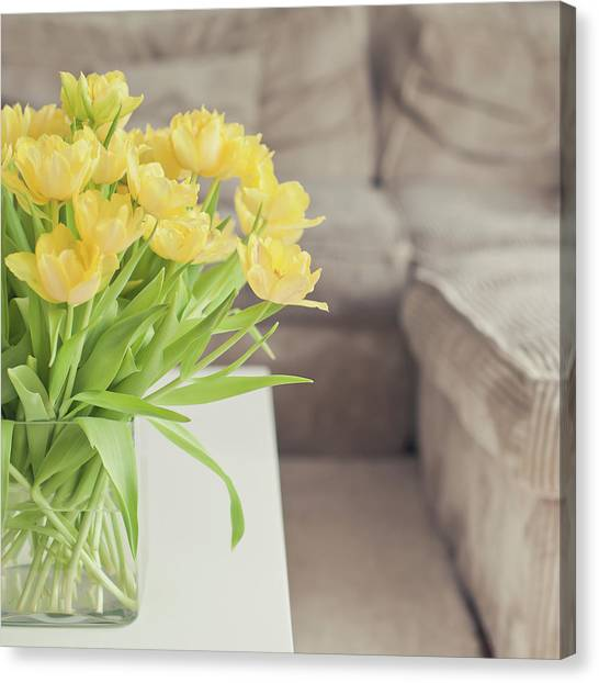 Vase Of Flowers Canvas Print - Yellow Tulips by Cindy Prins