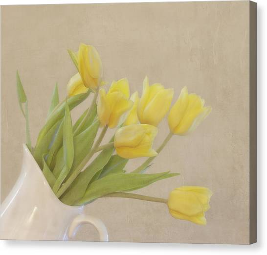 Vase Of Flowers Canvas Print - Yellow Tulips by Kim Hojnacki