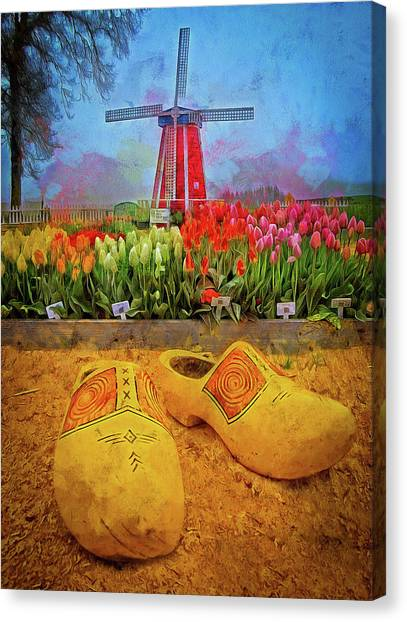 Yellow Wooden Shoes Canvas Print