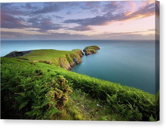 Canvas Print featuring the photograph Ynys Lochtyn Summer Sunrise by Elliott Coleman