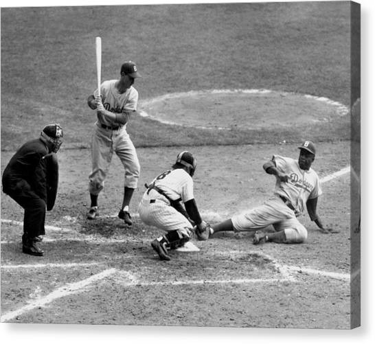 Yogi Has It Out. Jackie Robinson, With Canvas Print
