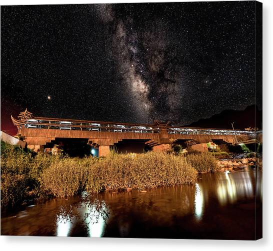 Canvas Print featuring the photograph Yonghe Bridge Milky Way by William Dickman