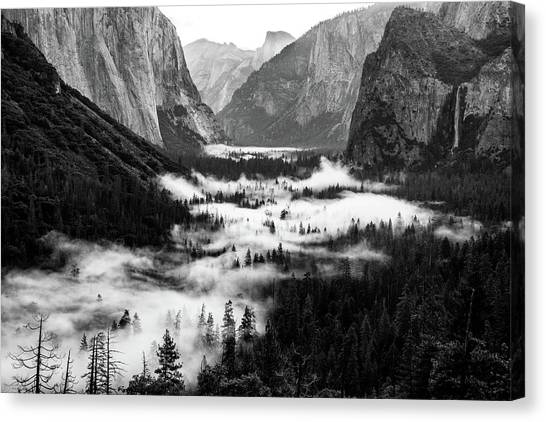 Canvas Print featuring the photograph Yosemite Fog 2 by Stephen Holst