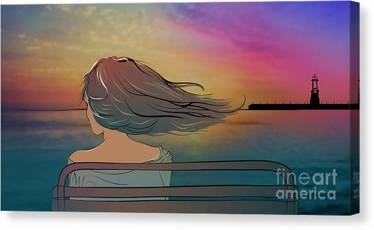 Meditate Canvas Print - Young Beautiful Woman Sitting On The by Veronika By