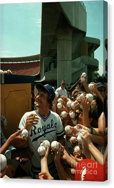 Kansas City Royals Canvas Print - Young Fans Hold Up Baseballs For Royals Star George Brett To Sign by Ted Spiegel